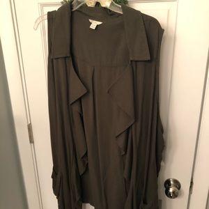 3X Drape Super Cute Olive Vest